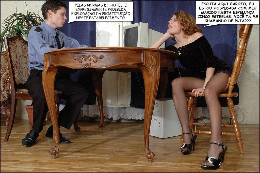 esposa e segurança do motel falando