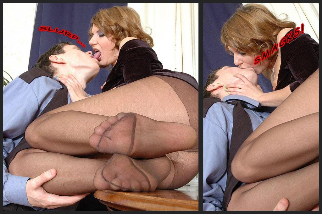 Esposa excitada beijando o rapaz